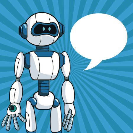 talking robot: smart robot futuristic technology bubble speech vector illustration eps 10