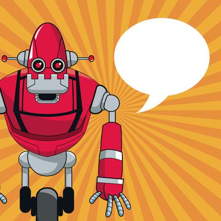 talking robot: robot automation with wheel bubble speech vector illustration eps 10