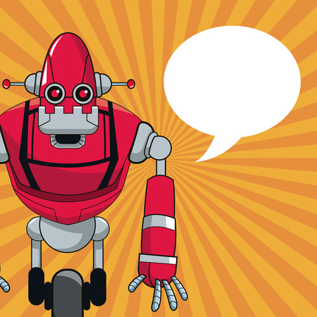 robot automation with wheel bubble speech vector illustration eps 10