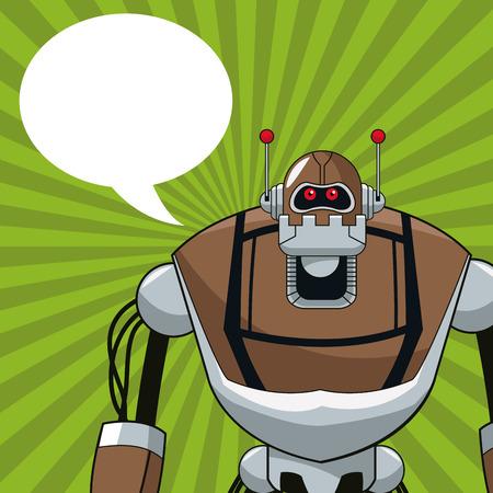 talking robot: robot electric mechanical bubble speech vector illustration eps 10