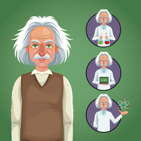 character scientist physical icons circle vector illustration eps 10 Illustration
