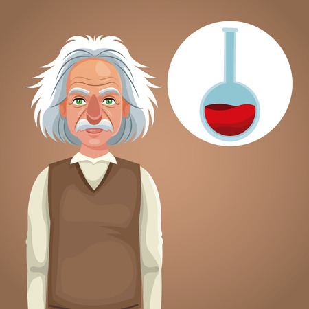 character scientist physical thinking test tube laboratory vector illustration eps 10
