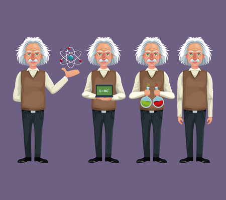 set character scientist physical equipment laboratory vector illustration eps 10