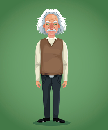 character scientist physical with vest jeans green background vector illustration eps 10