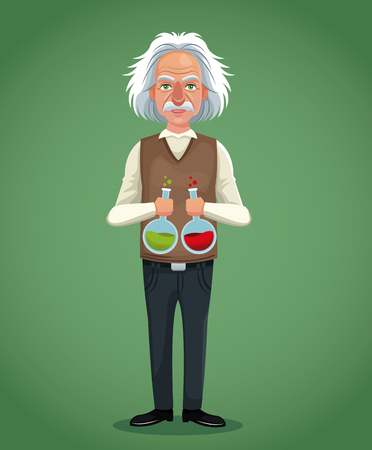 character scientist physical with test tube laboratory green background vector illustration eps 10