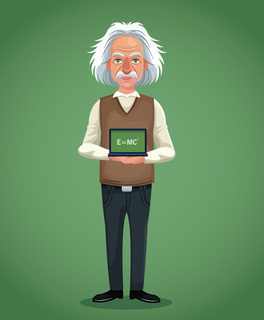 character scientist physical board with formula green background vector illustration eps 10