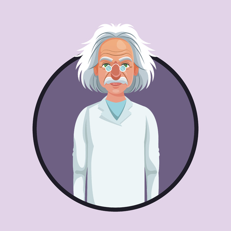 character scientist physical with glasses coat purple icon vector illustration eps 10