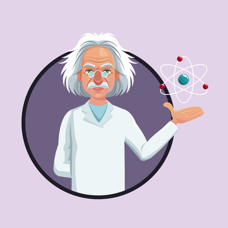 character scientist physical and atom purple icon vector illustration eps 10