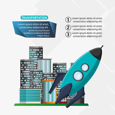 nitro: rocket transport space with city background vector illustration eps 10