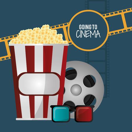 strips away: going to cinema pop corn 3d glasses film strip vector illustration eps 10 Illustration