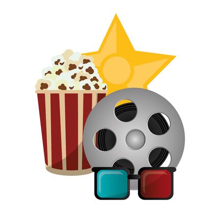 set cinema pop corn reel film 3d glasses award vector illustration eps 10