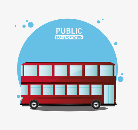 british touring car: public transport red bus two storied vector illustration eps 10