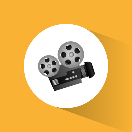 film projector: cinema camera film projector round icon vector illustration eps 10 Illustration