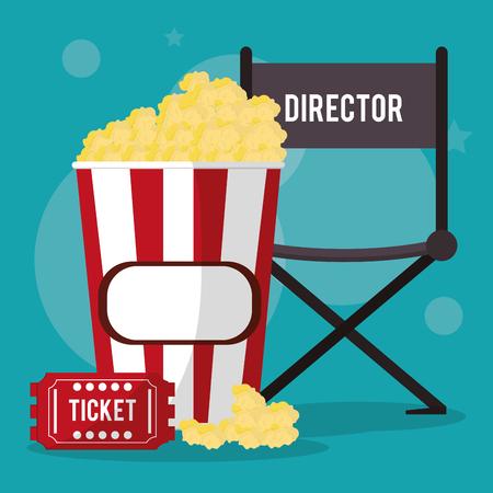 pop corn: cinema director chair pop corn and ticket vector illustration eps 10