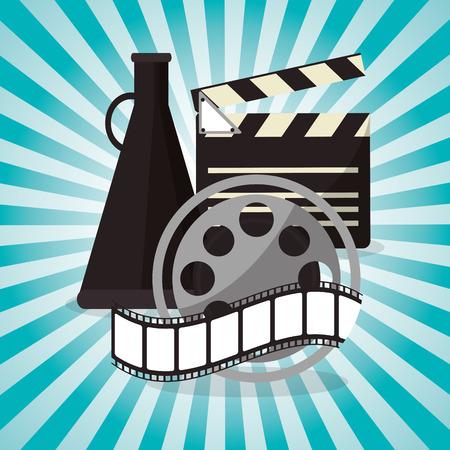 director chair: cinema film reel strip with speaker design vector illustration eps 10