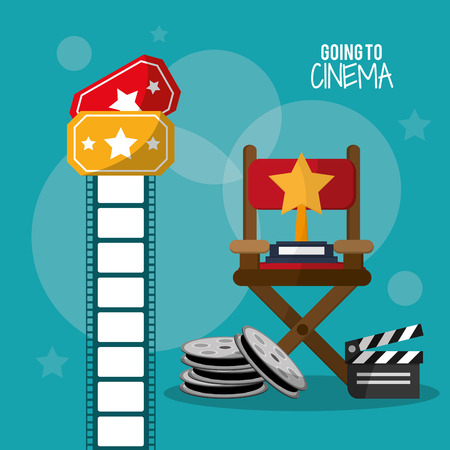 video still: going to cinema reel clapper film strip and tickets vector illustration eps 10 Illustration