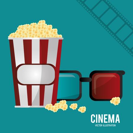 cinema 3d glasses pop corn and filmstrip vector illustration eps 10
