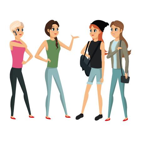 group people female talking vector illustration eps 10