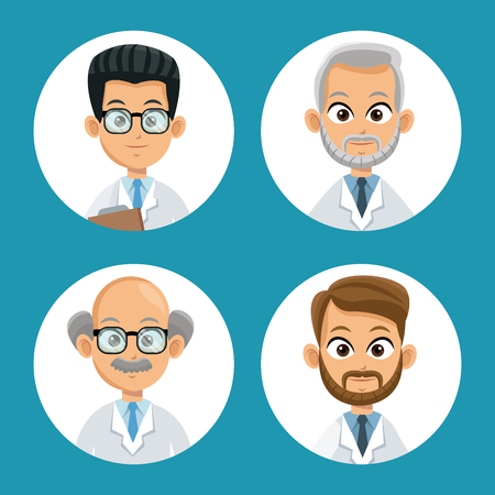 lack: group doctor professional icons round vector