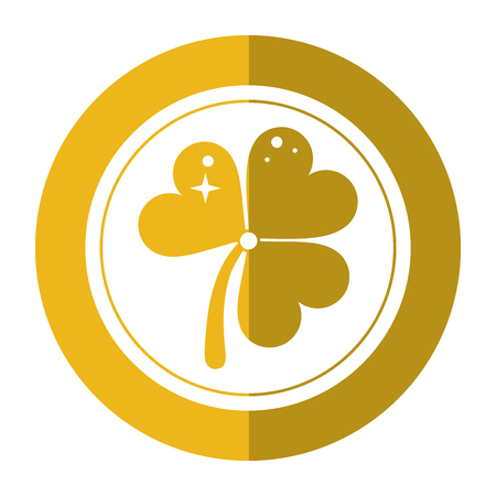 st patricks day gold coin clover shadow vector illustration eps 10