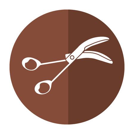 scissors surgery tool icon shadow vector illustration