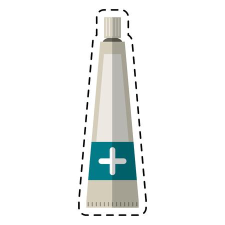 unpacking: cartoon ointment cream tube medicine vector illustration