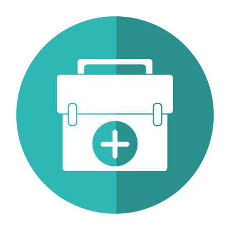 firstaid: first aid kit emergency equipment shadow vector illustration