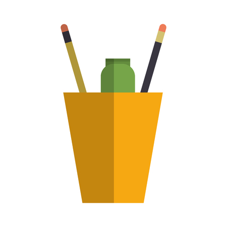 cup with pencils over white background. colorful design. vector illustration