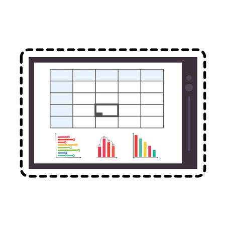 smartphone device icon over white background. colorful design. vector illustration