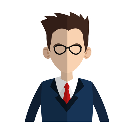 businessman wearing suit and tie over white background. colorful design. vector illustration Illustration