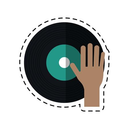 cartoon hand dj playing vinyl