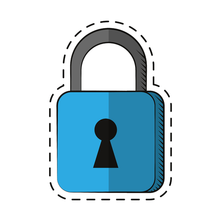 security technology: cartoon padlock security system technology