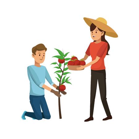 gardener couple icon over white background. colorful design. vector illustration Illustration