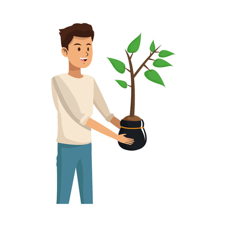 garden plant: gardener man holding a plant in a pot over white background. colorful design. vector illustration