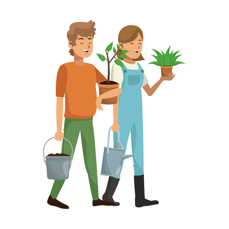 passion  ecology: gardener couple icon over white background. colorful design. vector illustration Stock Photo