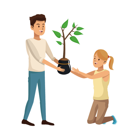 gardener couple icon over white background. colorful design. vector illustration Stock Photo