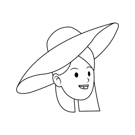 woman with a hat over white background. vector illustration