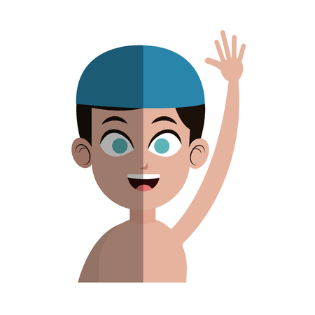 enfant maillot de bain: boy with swimming sport equipment over white background. colorful design. vector illustration