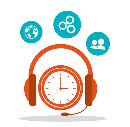 headsetline tijd call center vector illustratie