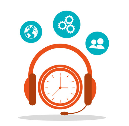 headsetline time call center vector illustration Ilustracja