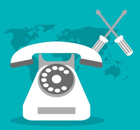 call center telephone world support vector illustration