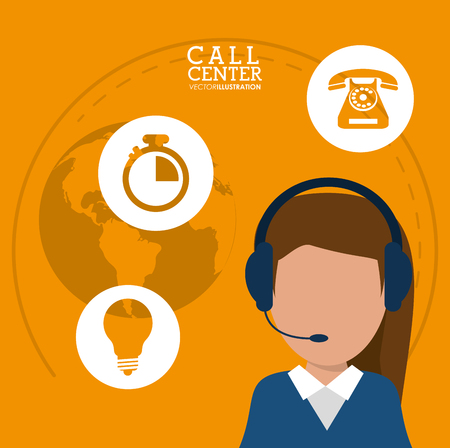 character call center headset support worldwide vector illustration eps 10 Illustration