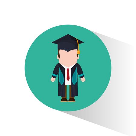 graduate student tie cap standing vector illustration Illustration