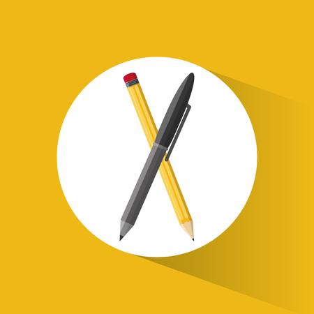 writing instruments: pencil pen utensils school vector illustration