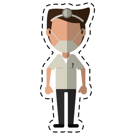 cartoon doctor specialist mask medical vector illustration