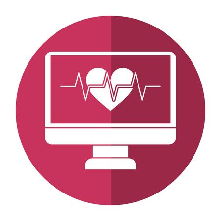monitor heartbeat cardiology rhythm shadow vector illustration