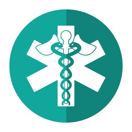 caduceus medicine care symbol shadow vector illustration