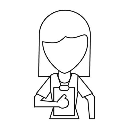 医療スタッフ女性のクリップボードの健康細い線ベクトルイラスト