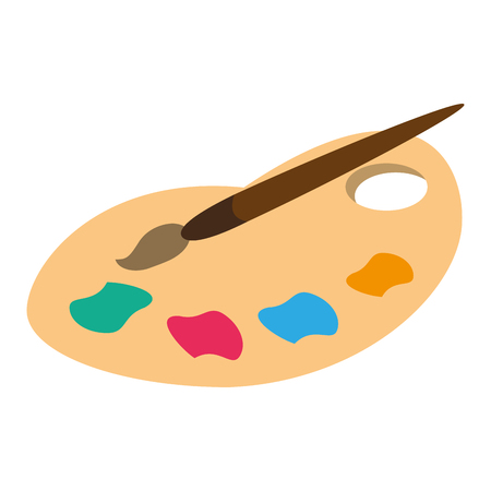 palette color paint brush vector illustration