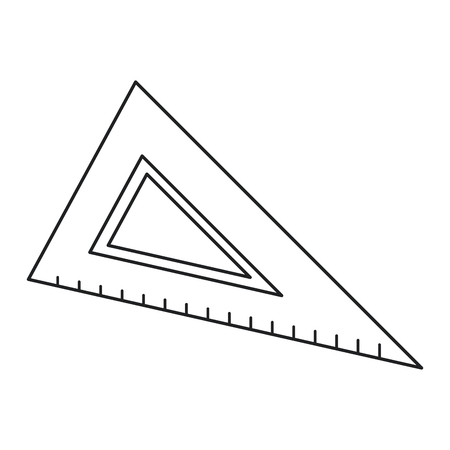 triangle ruler utensil icon thin line vector illustration